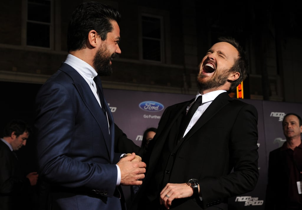 Aaron Paul and Dominic Cooper at Need For Speed Premiere