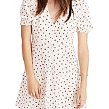Madewell Clover Strawberries Button Front Silk Dress
