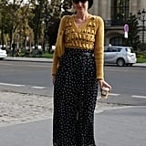 A textured knit and dotted trousers made a perfect pair in this look.