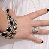 Jennifer Lawrence wore layered diamond bracelets and an antique-looking cocktail ring from Neil Lane.