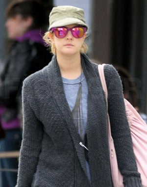 Drew Barrymore Wears Mirrored Pink Sunglasses Walking Around NYC