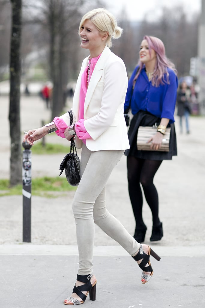 A perfect rendition of brights, whites, and killer heels.