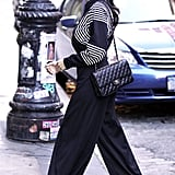 Kourtney Kardashian is quickly proving to be the most stylish of the clan. Check out those amazing wide-leg trousers.