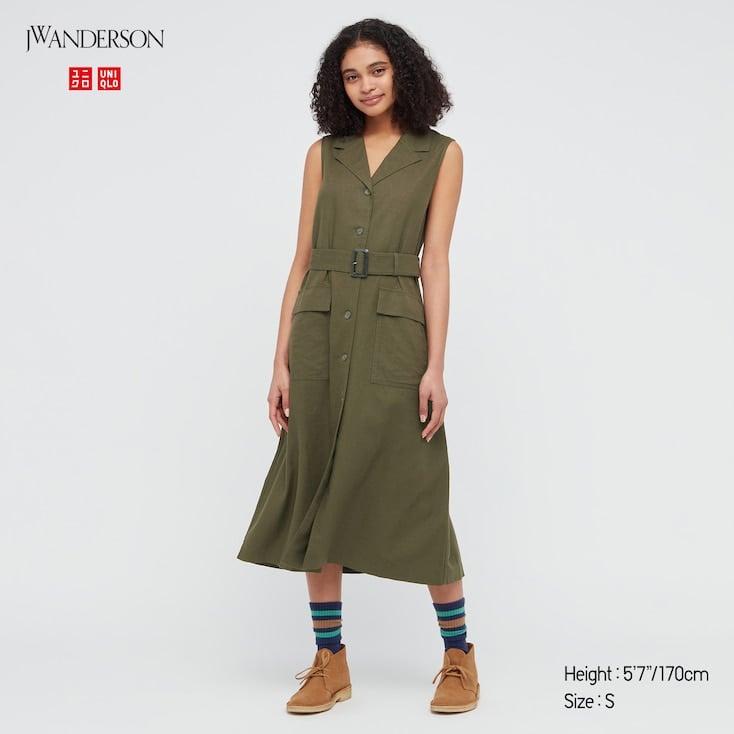 Linen-Blend Belted Sleeveless Lapel Dress
