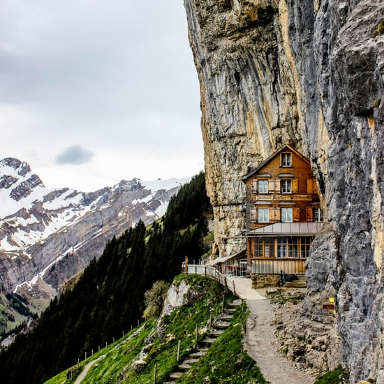 Cliffside Restaurant in Swiss Alps