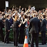 This is so sweet: Brad Pitt and Angelina Jolie worked the fan line at the Unbroken premiere from opposite sides and met in the middle to share this very cute moment.