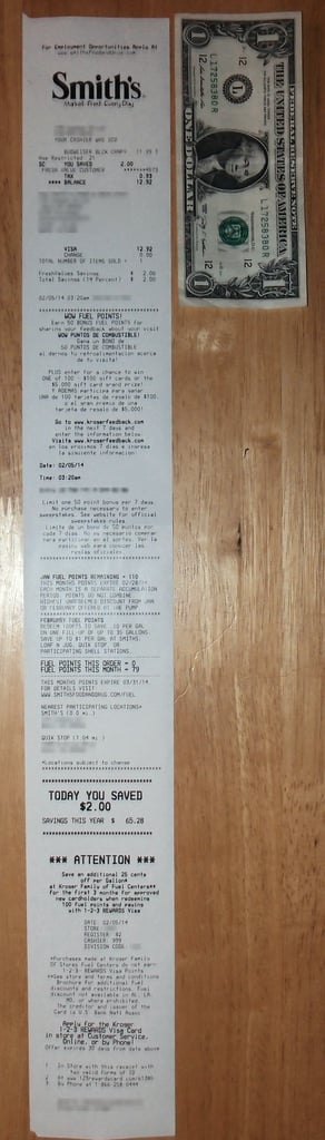 This Receipt For a Single Item