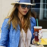 Jessica Alba grabbed a Starbucks drink in NYC.