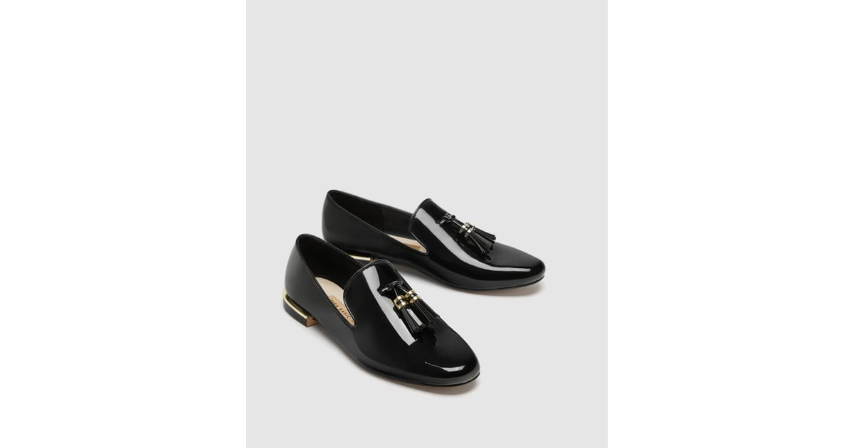 b51512d114e Zara Faux Patent Leather Tassel Loafers