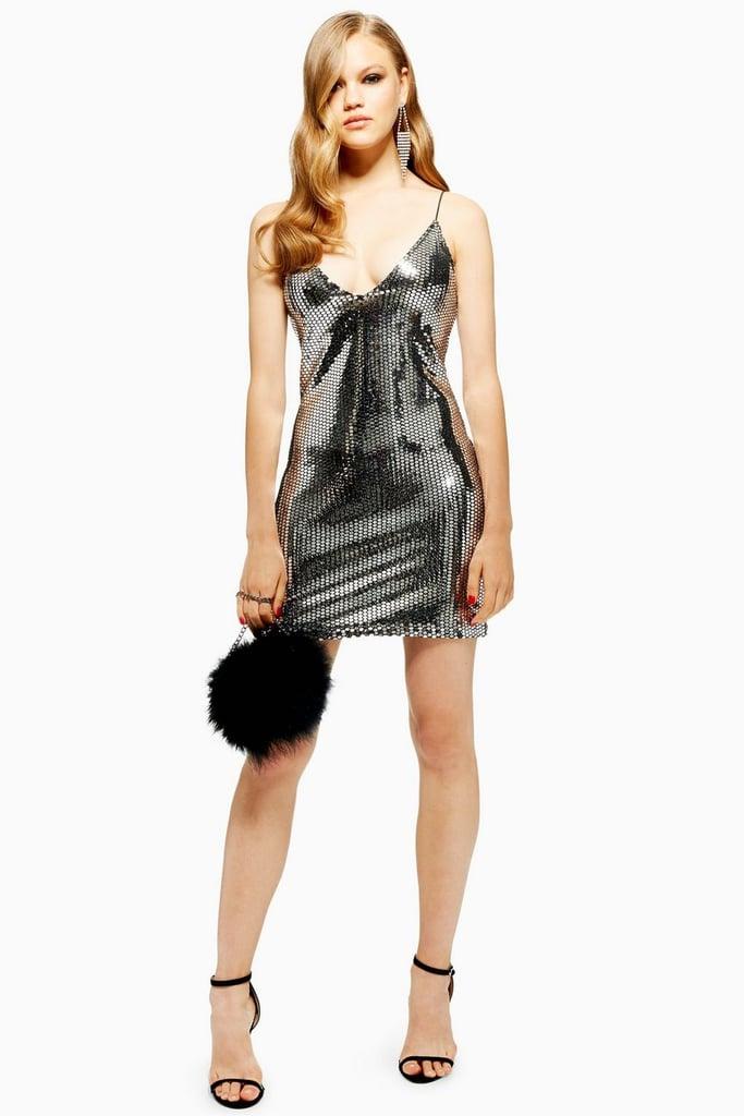 319d328d50e Topshop Silver Foil Sequin Mini Dress