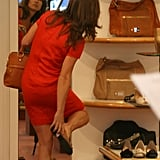Pippa Middleton tried on a pair of flats in London.