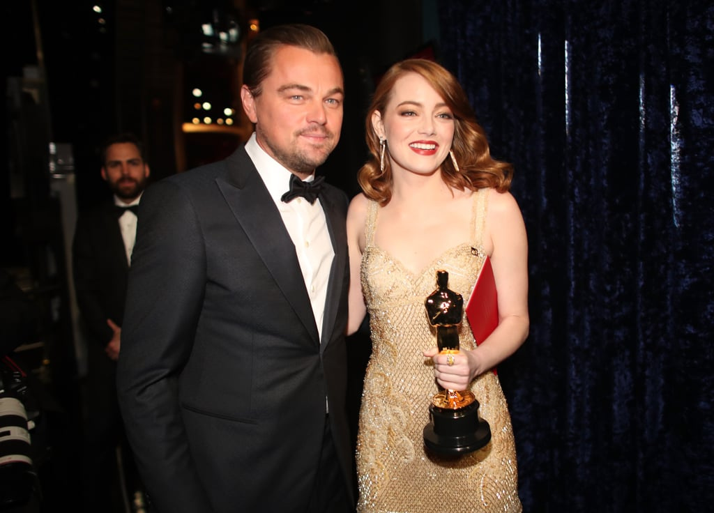 Pictured: Leonardo DiCaprio and Emma Stone