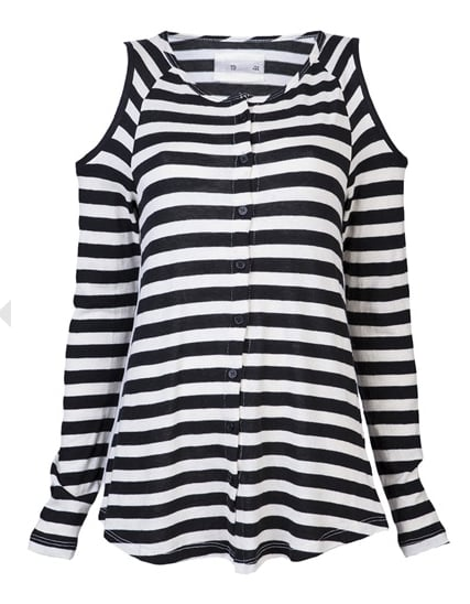 We seriously dig the cutout shoulders on this 19 4T striped top ($198). With a pair of black leather leggings and red pumps, it'll really do some stunning.
