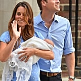 Kate Middleton and Prince William greeted the crowd as they left St. Mary's Hospital with the royal baby.