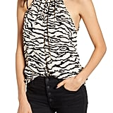 Our Pick: Bishop & Young Untamed Animal Print Halter Neck Satin Top