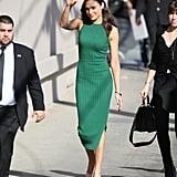 Gal Gadot arrived on set of Jimmy Kimmel Live! in a body-hugging and ribbed green Altuzarra dress.