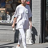 Selena Gomez Wore a Baggy White Shirt With Matching Joggers