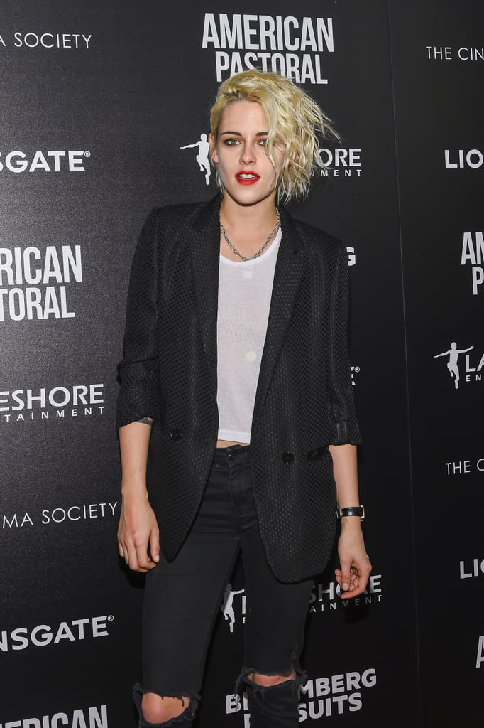 "Kristen Stewart is on a roll! After taking the New York Film Festival by storm, the actress attended the NYC screening of American Pastoral on Wednesday evening. Clad in black ripped jeans and a blazer, Kristen was her usual cool self as she posed for photos on the red carpet. Her latest appearance comes just a few days after she seemingly confirmed her romance with Cara Delevingne's ex-girlfriend, St. Vincent. Over the weekend, the two were spotted holding hands while walking around the Big Apple. While Kristen has yet to publicly address the recent speculation about her relationship with the singer, a source close to the pair told Us Weekly, ""It's been very romantic.""        Related:                                                                                                           Take a Look Back at All the People Kristen Stewart Has Dated"