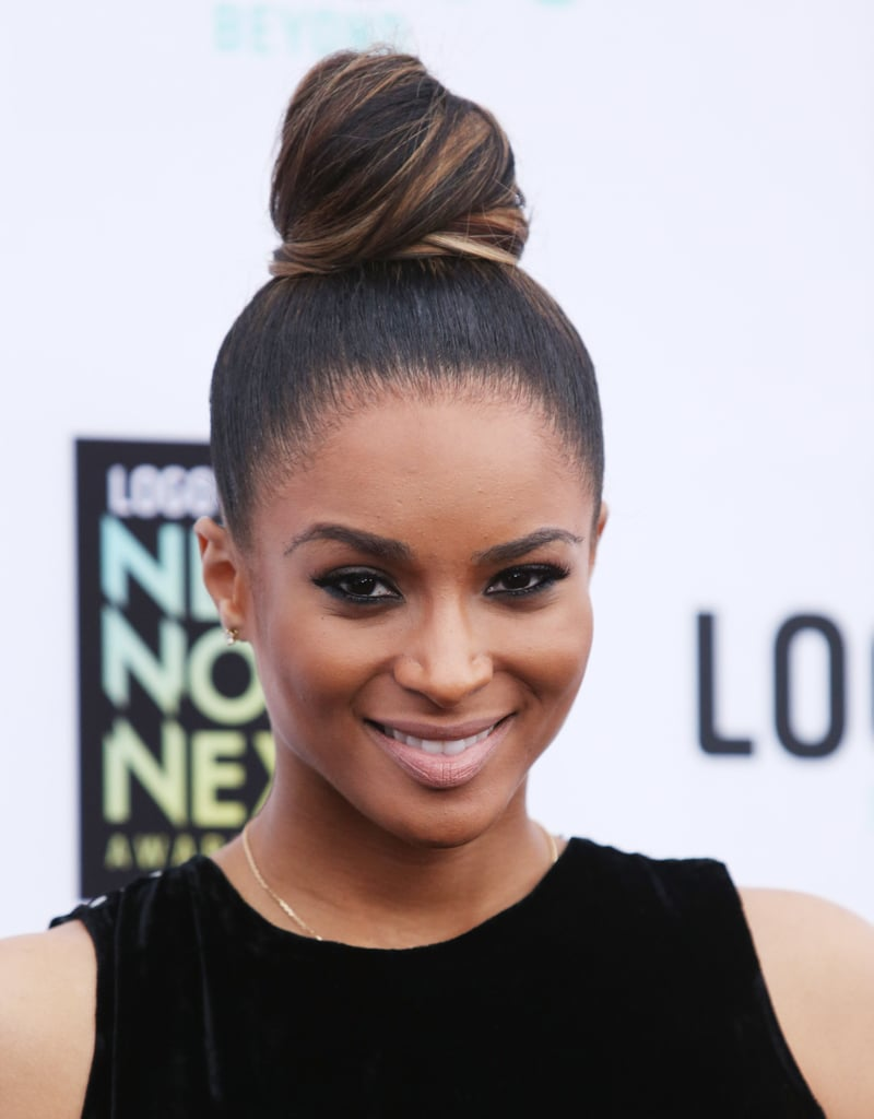 Ciara twisted her hair up into this towering topknot for the NewNowNext Awards.