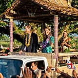 After arriving in the Solomon Islands, Will and Kate took a ride in an open-top vehicle.