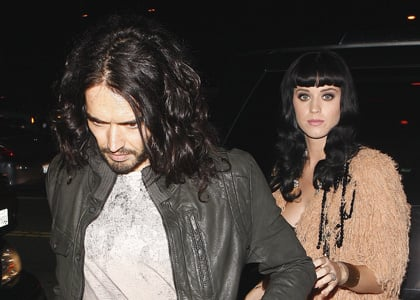 Katy Perry and Russell Brand attend a Pre-Grammy party