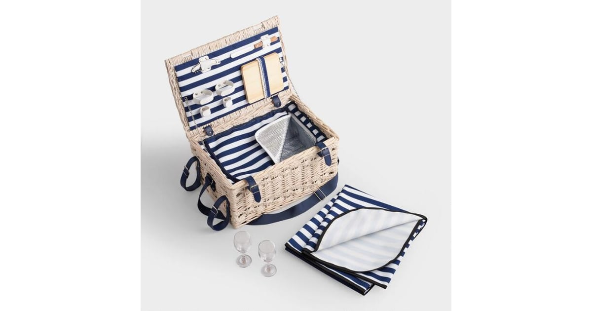 Navy Stripe Wine & Cheese Insulated Willow Picnic Basket