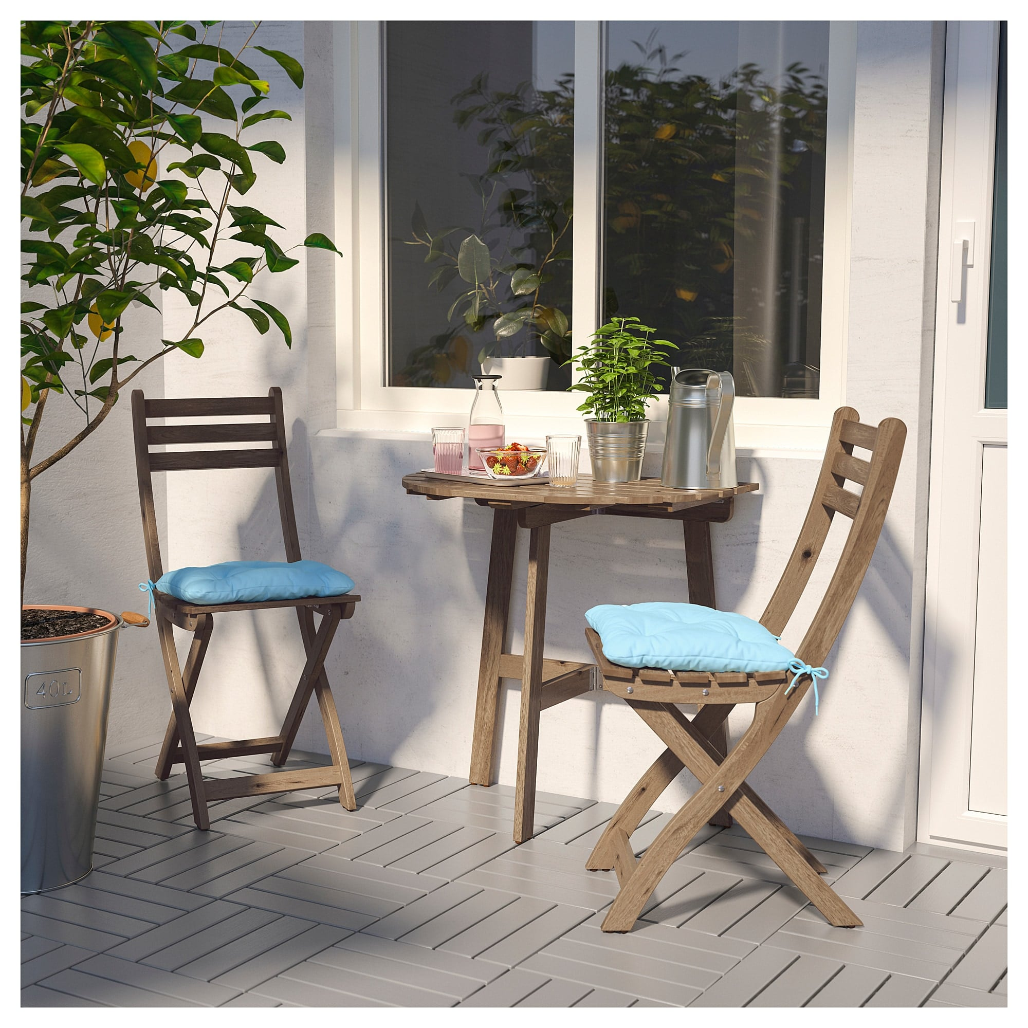 Askholmen Wall Table And Two Folding Chairs Small Patio Ikea Can Help In A Big Way With These Space Saving Furniture Picks Popsugar Home Photo 39