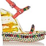 Christian Louboutin Embellished Leather Wedge Sandals ($795)