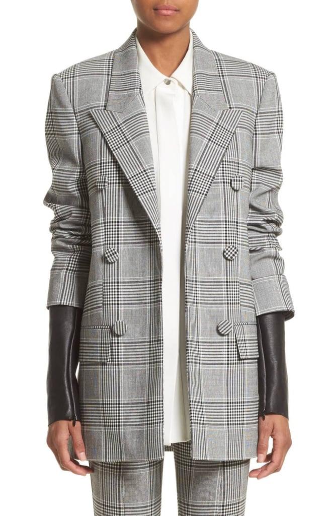 Alexander Wang Leather Sleeve Check Blazer (1,846.31)