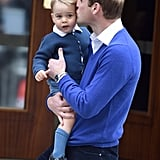 Will planted a big kiss on George at St. Mary's Hospital in 2015.