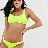 New Look Textured Bikini in Neon Yellow