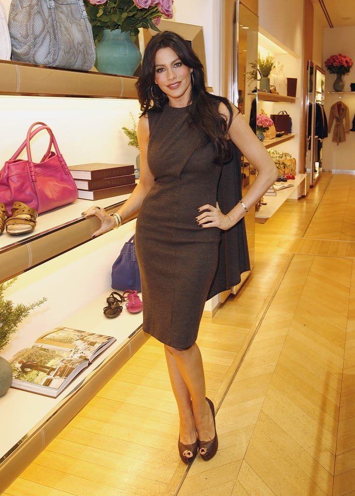 The Modern Family beauty was perfectly polished in a chocolate sheath and matching pumps in Beverly Hills.