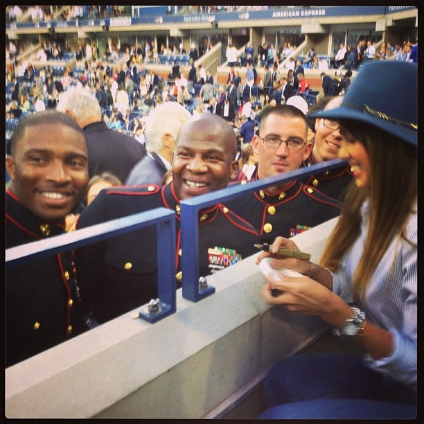 Jessica Alba signed autographs for a group of Marines during the US Open. Source: Instagram user jessicaalba