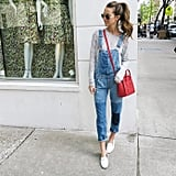 Overalls, a Long-Sleeved Tee, a Colorful Bag, and White Slippers