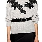 Topshop Appliqué Cable Knit Sweater