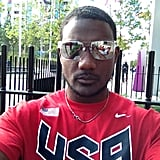Justin Gatlin shared a picture of himself in USA gear.  Source: Twitter user JustinGatlin