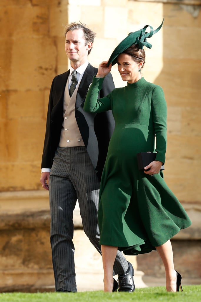There they are! Pippa Middleton James Matthews were spotted making their way into St George's Chapel for Princess Eugenie and James Brooksbank's wedding on Oct. 12. The couple, who are currently expecting their first child, were all smiles as they walked in front of Pippa and Kate's younger brother James Middleton. Pippa even gave a glimpse of her growing baby bump in a green dress. There were contrary reports that Pippa was due to give birth this weekend, which makes her appearance at the wedding such a special surprise! We're glad they were all able to attend the special occasion.