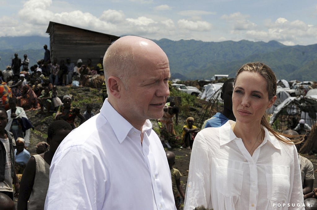 Angelina Jolie joined William Hague when he announced that the UK would be donating money toward victims of sexual violence.