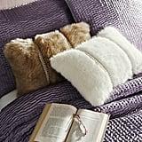 Beaded Faux Fur Lumbar Pillows ($40)
