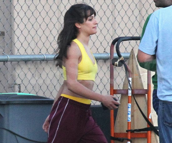 Slide Picture of Lea Michele Wearing Britney Spears Outfit on Glee Set