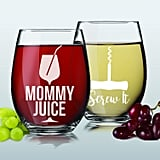 Mommy Juice and Screw It Stemless Wine Glasses