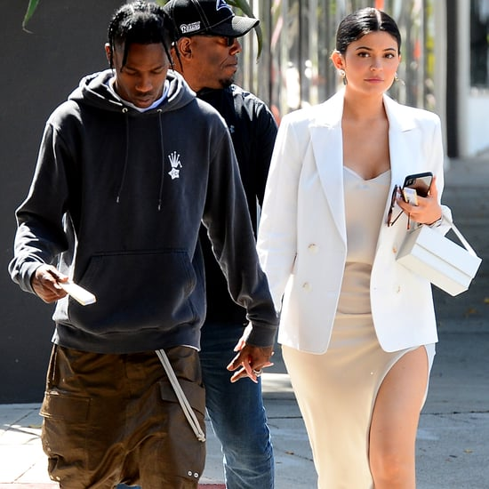 Kylie Jenner Slip Dress and Sneakers With Travis Scott