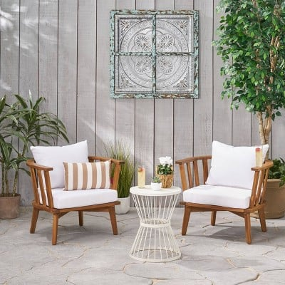 Christopher Knight Home Phipps 3pc Acacia Wood Club Chair and Table Set