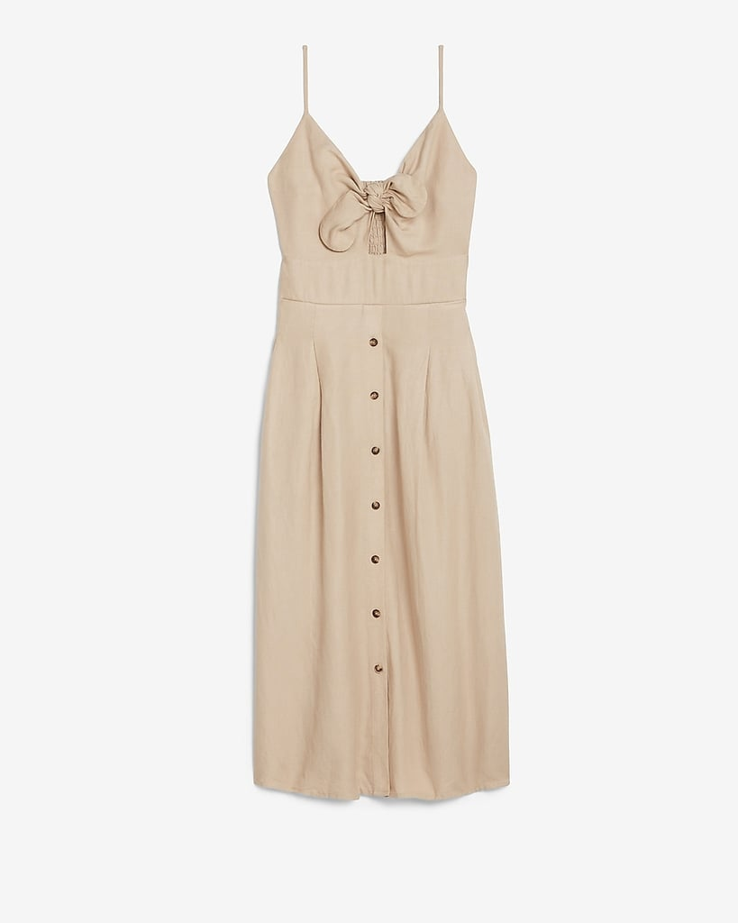 Linen-Blend Button-Front Tie Midi Dress