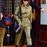 Victoria Beckham Green Jumpsuit November 2018