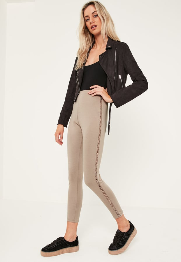 Missguided Nude Lattice Side Ponte Leggings ($36)