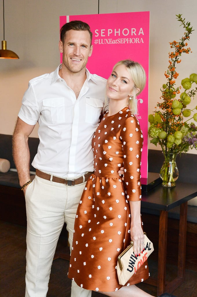 "Julianne Hough and Brooks Laich enjoyed a sweet date night on Tuesday when they supported their friend Nina Dobrev at her Harper's BAZAAR event in LA. The newlyweds, who tied the knot in a stunning ceremony in Idaho in July, looked picture-perfect during their first appearance as a married couple. Julianne rocked a polka-dot dress as she flaunted her stunning engagement and wedding rings while holding a ""Universal Love"" clutch. Aside from showing PDA with a kiss, the Dancing With the Stars judge couldn't help but gush about married life.   While she admitted that she's ready to get back into the swing of things after taking some time off to get married and go on their honeymoon, she is still soaking up the little things. ""It definitely feels different being married,"" she said. ""People have always said that, and I didn't understand, it but now I feel more whole."" In fact, her favorite part about being married is simply calling Brooks her husband. ""It was actually when we got our marriage certificate,"" she added. ""It was like 'How are you doing, husband?' It was fun."" See more of their adorable outing below.      Related:                                                                                                           The Story of How Julianne Hough Met Brooks Laich Will Make You Believe in Destiny"