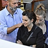 Penelope Cruz smiled on the set of her new movie in Rome.