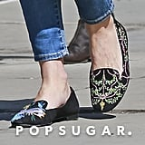 Olivia Palermo Embroidered Flats April 2016