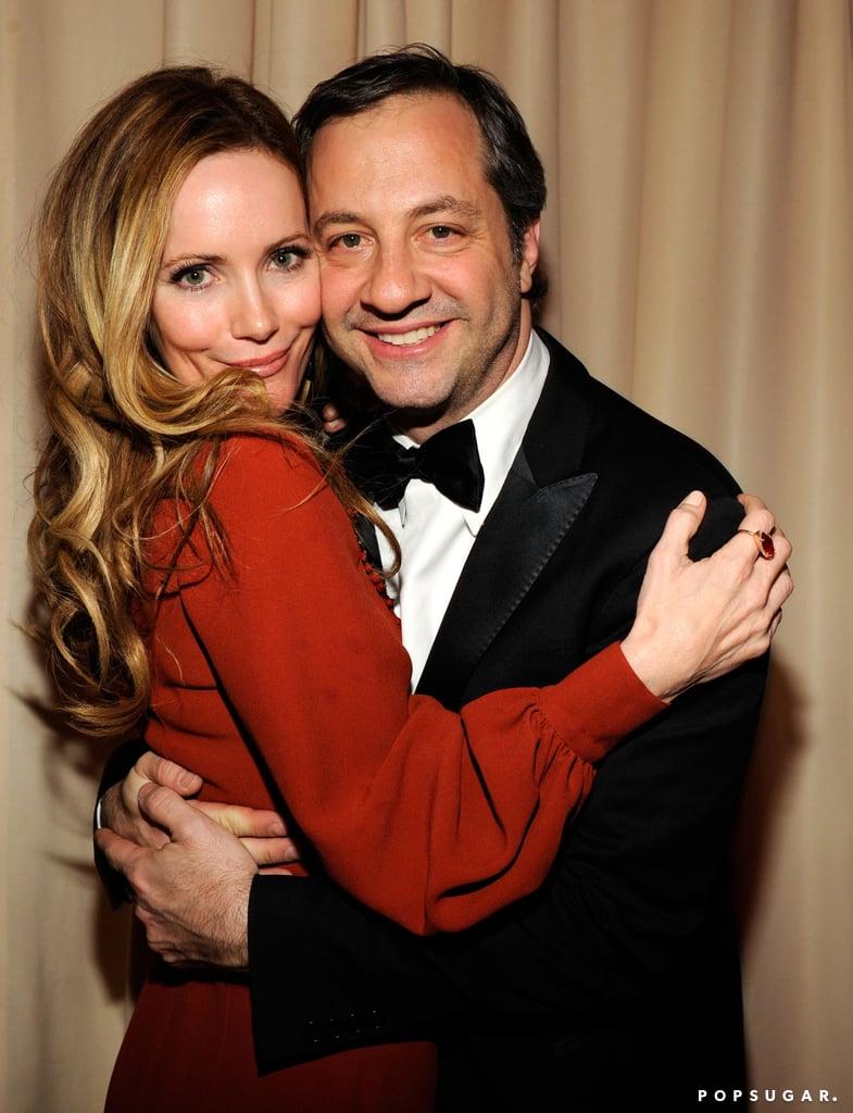 Leslie Mann hugged Judd Apatow tightly at the Vanity Fair Oscar party on Sunday in Hollywood.
